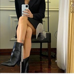Zara black ankle boots faux diamond Nwt 6.5